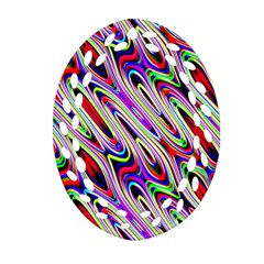 Multi Color Wave Abstract Pattern Oval Filigree Ornament (two Sides) by Simbadda