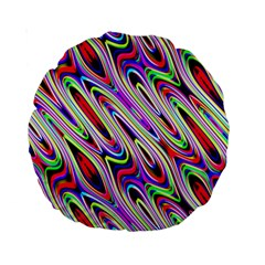Multi Color Wave Abstract Pattern Standard 15  Premium Round Cushions by Simbadda