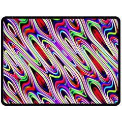 Multi Color Wave Abstract Pattern Double Sided Fleece Blanket (large)