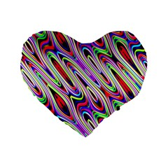 Multi Color Wave Abstract Pattern Standard 16  Premium Flano Heart Shape Cushions by Simbadda