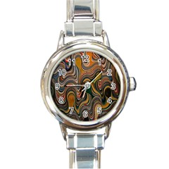 Swirl Colour Design Color Texture Round Italian Charm Watch