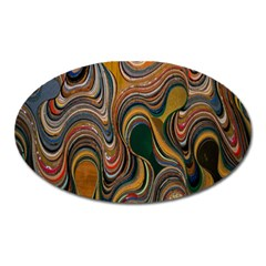 Swirl Colour Design Color Texture Oval Magnet by Simbadda