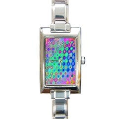 Background Texture Pattern Colorful Rectangle Italian Charm Watch by Simbadda