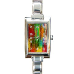 Color Abstract Background Textures Rectangle Italian Charm Watch by Simbadda