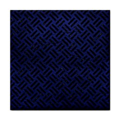Woven2 Black Marble & Blue Leather (r) Tile Coaster by trendistuff