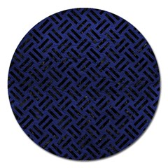 Woven2 Black Marble & Blue Leather (r) Magnet 5  (round) by trendistuff