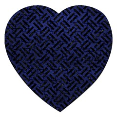 Woven2 Black Marble & Blue Leather (r) Jigsaw Puzzle (heart) by trendistuff