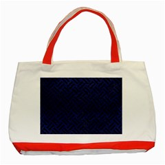 Woven2 Black Marble & Blue Leather (r) Classic Tote Bag (red) by trendistuff