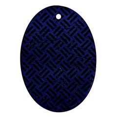 Woven2 Black Marble & Blue Leather (r) Oval Ornament (two Sides) by trendistuff