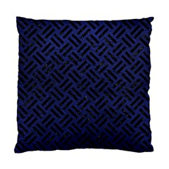 Woven2 Black Marble & Blue Leather (r) Standard Cushion Case (one Side) by trendistuff