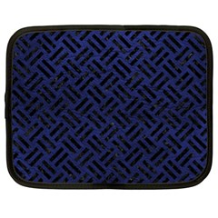 Woven2 Black Marble & Blue Leather (r) Netbook Case (xl) by trendistuff