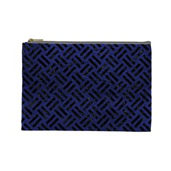 Woven2 Black Marble & Blue Leather (r) Cosmetic Bag (large) by trendistuff