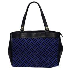 Woven2 Black Marble & Blue Leather (r) Oversize Office Handbag (2 Sides) by trendistuff