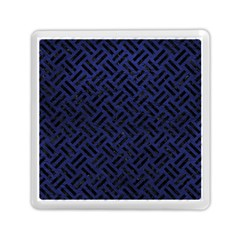 Woven2 Black Marble & Blue Leather (r) Memory Card Reader (square) by trendistuff