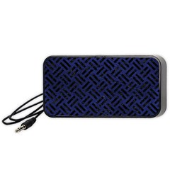 Woven2 Black Marble & Blue Leather (r) Portable Speaker (black) by trendistuff