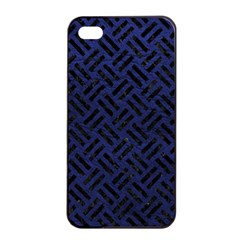 Woven2 Black Marble & Blue Leather (r) Apple Iphone 4/4s Seamless Case (black) by trendistuff