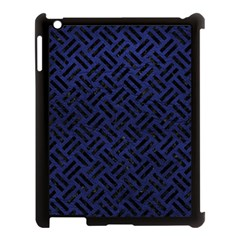 Woven2 Black Marble & Blue Leather (r) Apple Ipad 3/4 Case (black) by trendistuff