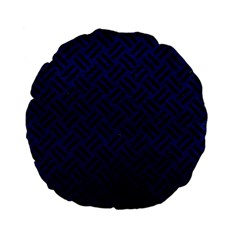 Woven2 Black Marble & Blue Leather (r) Standard 15  Premium Flano Round Cushion  by trendistuff