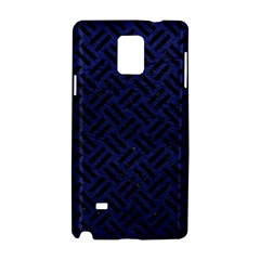 Woven2 Black Marble & Blue Leather (r) Samsung Galaxy Note 4 Hardshell Case by trendistuff