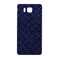 Woven2 Black Marble & Blue Leather (r) Samsung Galaxy Alpha Hardshell Back Case by trendistuff