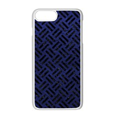 Woven2 Black Marble & Blue Leather (r) Apple Iphone 7 Plus White Seamless Case by trendistuff