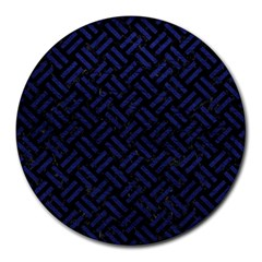 Woven2 Black Marble & Blue Leather Round Mousepad by trendistuff