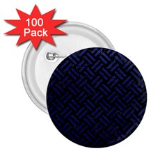 Woven2 Black Marble & Blue Leather 2 25  Button (100 Pack) by trendistuff