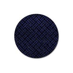 Woven2 Black Marble & Blue Leather Magnet 3  (round) by trendistuff