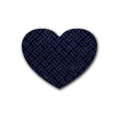 Woven2 Black Marble & Blue Leather Rubber Heart Coaster (4 Pack) by trendistuff