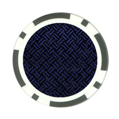 Woven2 Black Marble & Blue Leather Poker Chip Card Guard by trendistuff