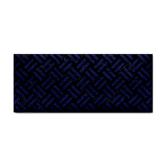 Woven2 Black Marble & Blue Leather Hand Towel by trendistuff