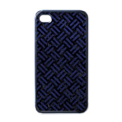 Woven2 Black Marble & Blue Leather Apple Iphone 4 Case (black) by trendistuff