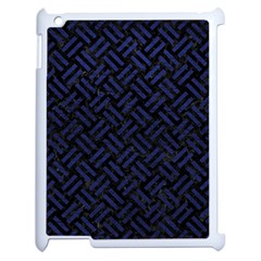 Woven2 Black Marble & Blue Leather Apple Ipad 2 Case (white) by trendistuff