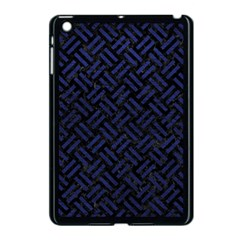 Woven2 Black Marble & Blue Leather Apple Ipad Mini Case (black) by trendistuff