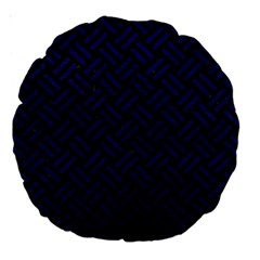Woven2 Black Marble & Blue Leather Large 18  Premium Round Cushion  by trendistuff