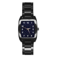 Woven2 Black Marble & Blue Leather Stainless Steel Barrel Watch by trendistuff