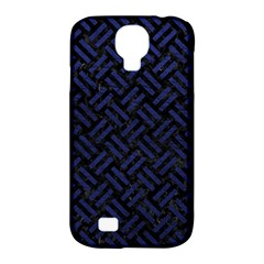 Woven2 Black Marble & Blue Leather Samsung Galaxy S4 Classic Hardshell Case (pc+silicone) by trendistuff