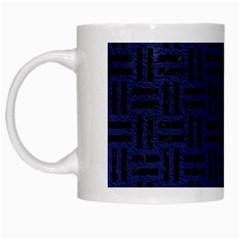 Woven1 Black Marble & Blue Leather (r) White Mug by trendistuff