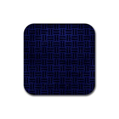 Woven1 Black Marble & Blue Leather (r) Rubber Square Coaster (4 Pack) by trendistuff