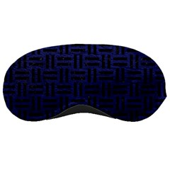 Woven1 Black Marble & Blue Leather (r) Sleeping Mask by trendistuff