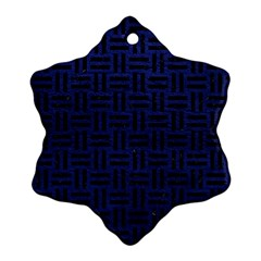 Woven1 Black Marble & Blue Leather (r) Snowflake Ornament (two Sides) by trendistuff