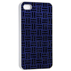 Woven1 Black Marble & Blue Leather (r) Apple Iphone 4/4s Seamless Case (white) by trendistuff
