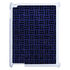 Woven1 Black Marble & Blue Leather (r) Apple Ipad 2 Case (white) by trendistuff