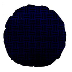 Woven1 Black Marble & Blue Leather (r) Large 18  Premium Round Cushion  by trendistuff