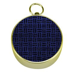 Woven1 Black Marble & Blue Leather (r) Gold Compass by trendistuff
