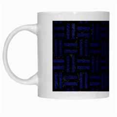 Woven1 Black Marble & Blue Leather White Mug by trendistuff