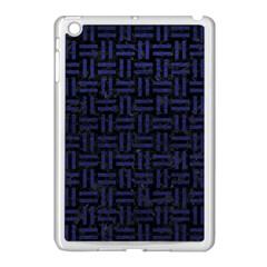 Woven1 Black Marble & Blue Leather Apple Ipad Mini Case (white) by trendistuff