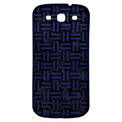 Woven1 Black Marble & Blue Leather Samsung Galaxy S3 S Iii Classic Hardshell Back Case by trendistuff