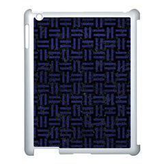 Woven1 Black Marble & Blue Leather Apple Ipad 3/4 Case (white) by trendistuff