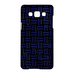 Woven1 Black Marble & Blue Leather Samsung Galaxy A5 Hardshell Case  by trendistuff